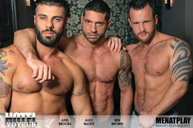 Alex Marte Ben Brown and Axel Brooks in Hotel Voyeur at Men at Play 1 Ripped Muscle Bodybuilder Strips Naked and Strokes His Big Hard Cock photo1 Alex Marte, Ben Brown and Axel Brooks in Hotel Voyeur at Men at Play