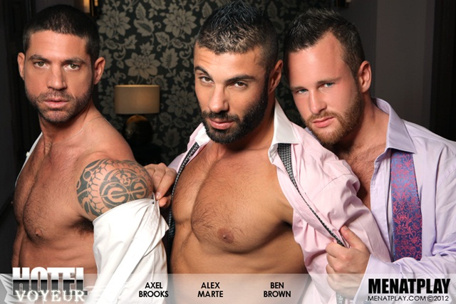Alex Marte Ben Brown and Axel Brooks in Hotel Voyeur at Men at Play 8 Ripped Muscle Bodybuilder Strips Naked and Strokes His Big Hard Cock photo1 Alex Marte, Ben Brown and Axel Brooks in Hotel Voyeur at Men at Play