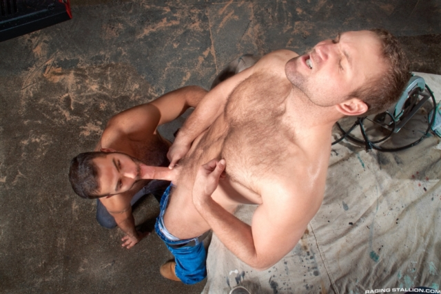 Derrick Dime pushes Abel Archer's head further down onto his growing cock