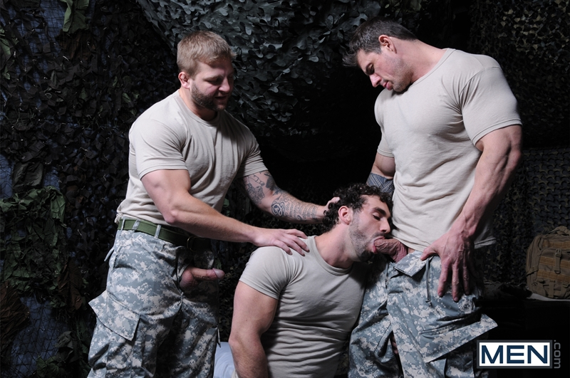 Muscled Army Hunks Destroy Dudes Mouth