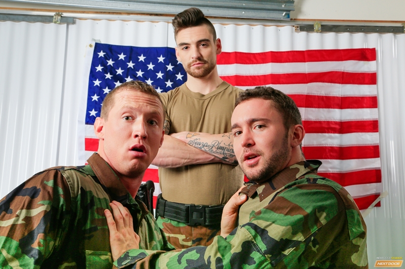 Army boys Johnny Torque, Colt Rivers and Pierce Hartman hot ass fucking