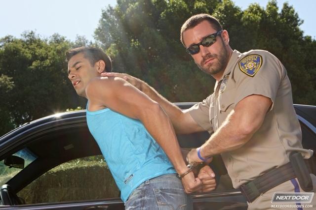 Sexy gay cop Vinny Castillo fucks ass of Ray Diaz in back of police car at Next Door Buddies