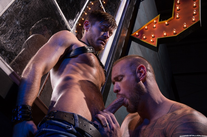 With Michael Roman deep inside him Jack Andy explodes with thick ropes of cum that drip across his hairy stomach