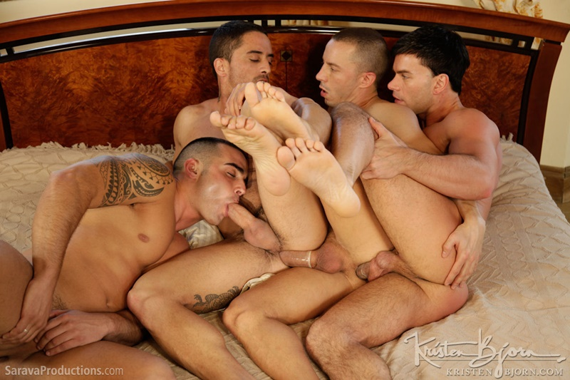 Hot muscle ass fucking foursome Robin Sanchez, Abel Pozsar, Adrian Toledo and Brian McNight