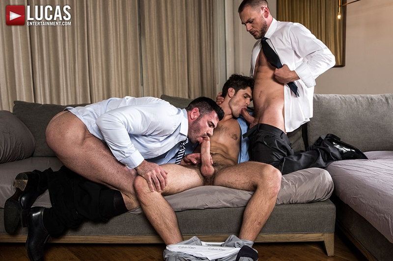Hot muscle hunks Hans Berlin and Billy Santoro fuck Devin Franco's tight smooth asshole