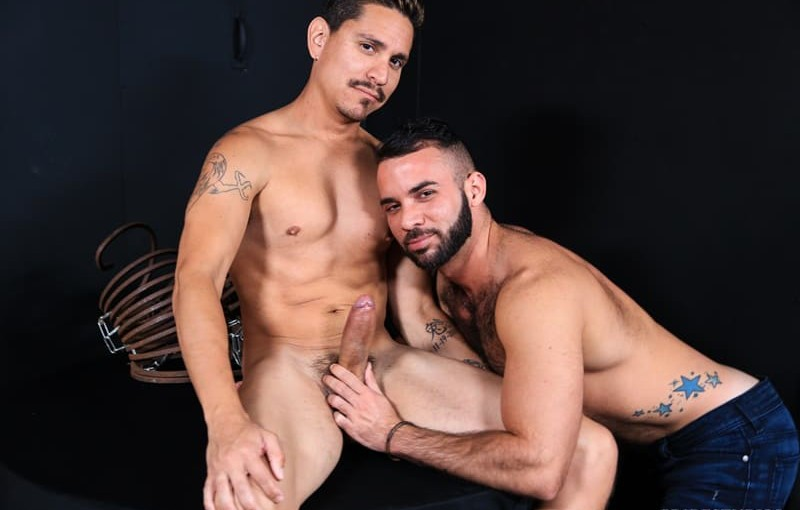 Sexy young dude Fernando Del Rio sucks down hard on Lex Sabre's huge 9 inch cock
