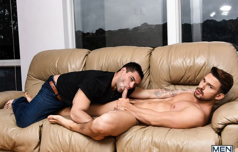 Sexy hairy chested muscle hunk Aspen's huge long cock fucks Casey Jacks' ass balls deep