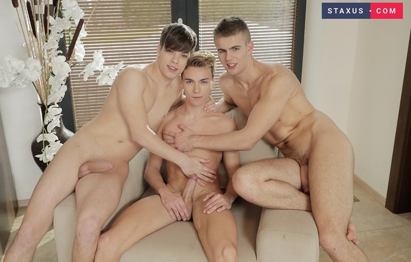 Orri Gaul and Ben Isai hardcore ass fucking as Jake Stark probes his smooth asshole with a big dildo