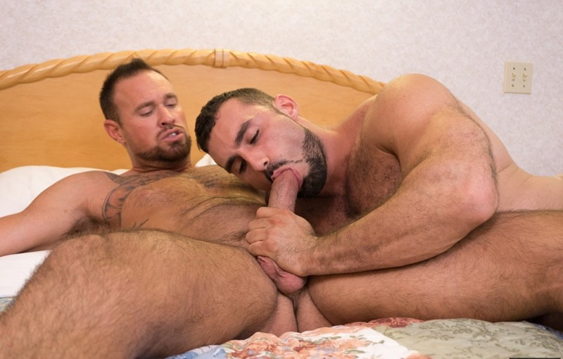 Two hot muscle daddies Jaxton Wheeler and Michael Roman hardcore big dick ass fucking