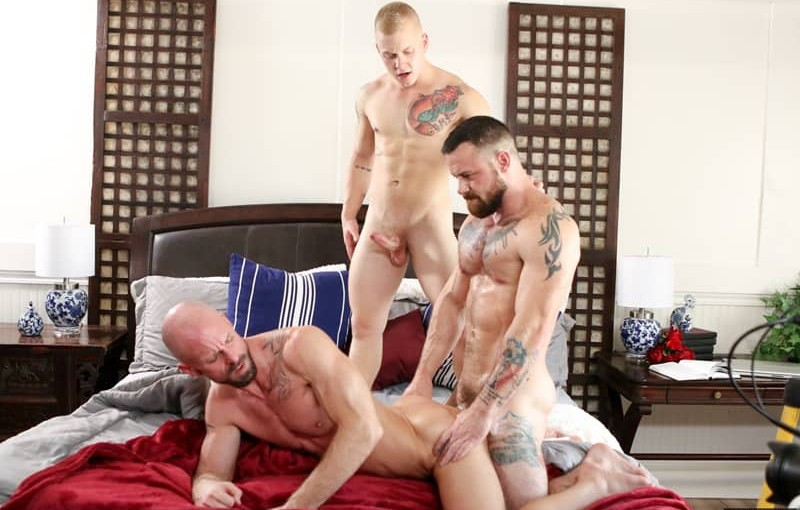 Young son Leo Luckett double fucked by Mitch Vaughn and Sergeant Miles huge muscle dicks
