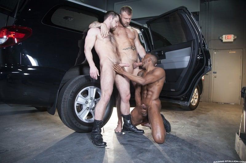 Interracial big black cock threesome Austin Wolf and Pheonix Fellington abuse Kurtis Wolfe's hot tight asshole