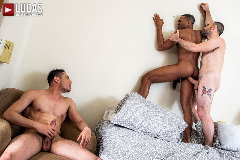 Men for Men Blog Ashton-Labruce-Sean-Xavier-Boy-Friend-Max-Arion-anal-fucked-huge-11-inch-cock-LucasEntertainment-022-gay-porn-pictures-gallery Ashton Labruce sits watching and stroking while BF Max Arion fucks black beauty Sean Xavier hot asshole Lucas Entertainment