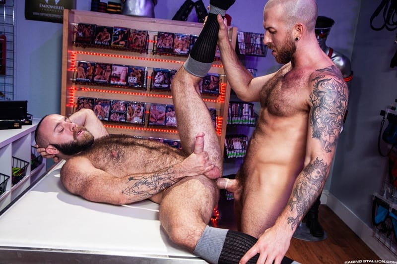 Men for Men Blog Teddy-Bear-Nigel-March-naked-Hairy-hunk-fucked-huge-cock-at-Raging-Stallion-012-gay-porn-pictures-gallery Horny stud Teddy Bear rolls over on his back and lets Nigel March slam his ass Raging Stallion