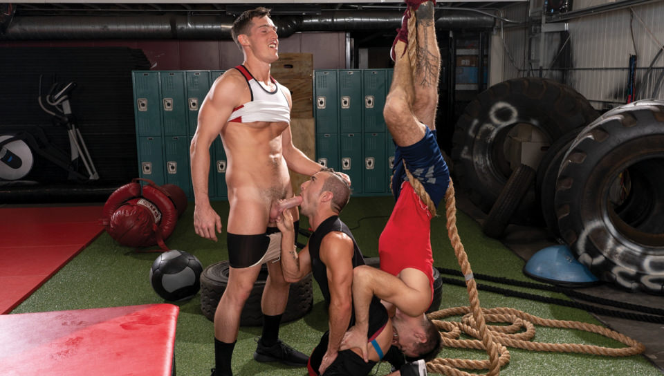 Men for Men Blog 74043_03_01 Huge cock spit-roasting Grant Ryan with Steven Lee plugging his face and Woody Fox fucking his hot ass Falcon Studios