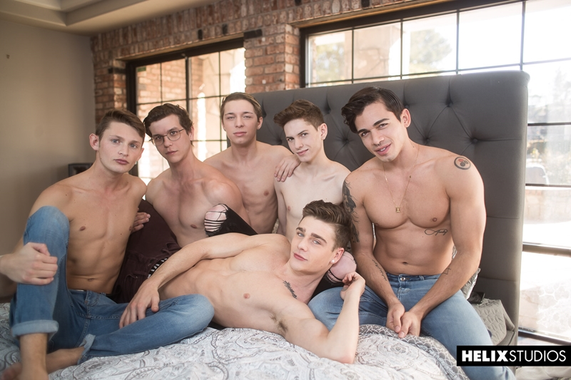 Gay twink orgy with Travis Stevens, Ashton Summers, Johnny Hands, Riley Finch, Jacob Hansen and Garrett Kinsley
