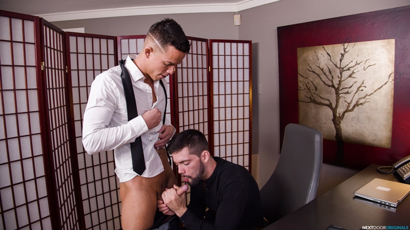 Hot new boss Julian Brady takes Nic Sahara's huge dick all the way up his ass