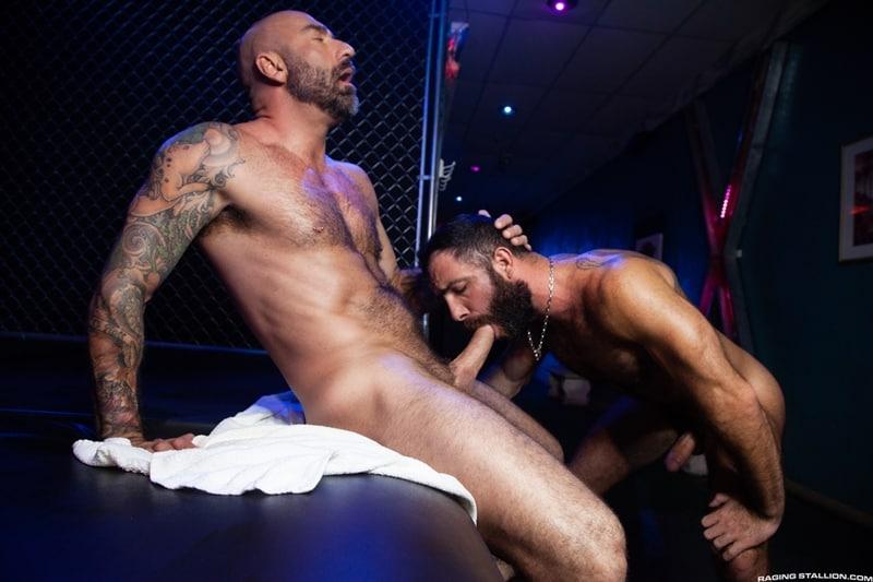 Hairy big muscle hunks Drew Sebastian and Jake Nicola bareback doggie style anal