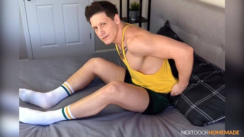 Dalton Riley strips out of his sweaty gym kit and white socks jerking his huge cock to a massive spray of cum