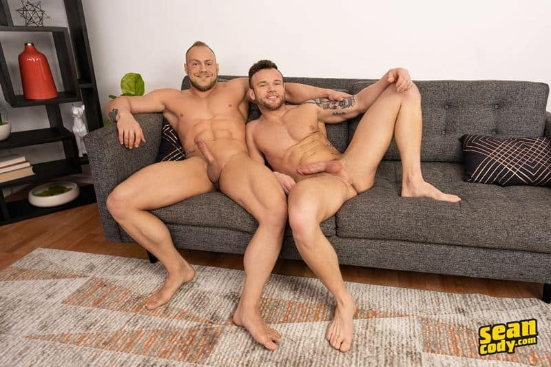 Brock spanks and rims Sean's hot asshole before bareback fucking him