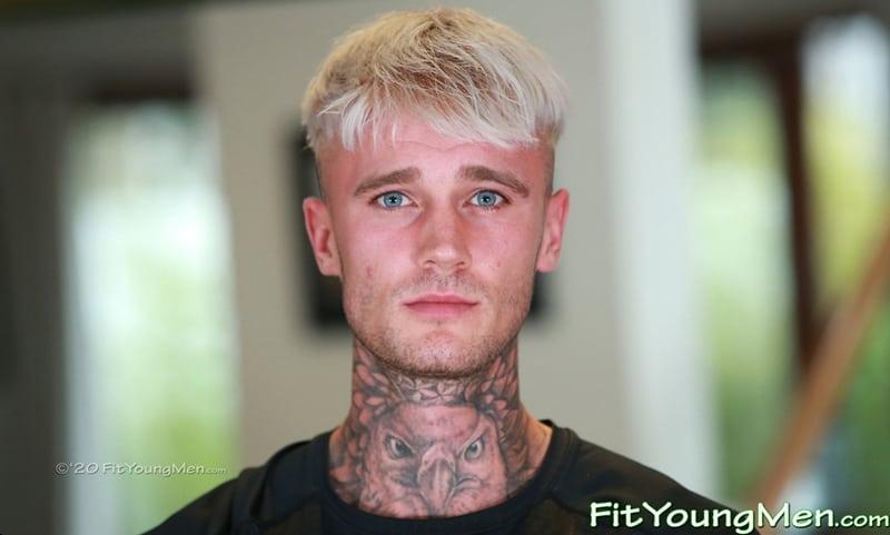 Hottie tattooed blonde muscle hunk Harry Wills strips naked wanking his huge uncut dick