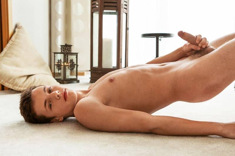 Hot young twink Leo Lamech naked shower big uncut cock wank
