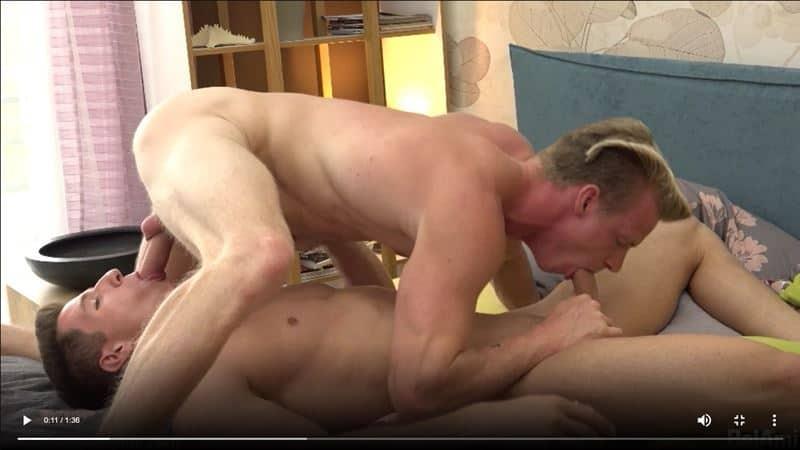 Hot young European jocks Jens Christensen bottoms for Niko Vangelis' huge uncut dick