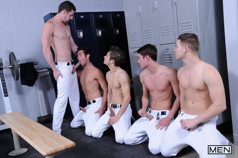 Baseball team lockeroom orgy Johnny Rapid, Riley Banks, Hunter Page and Mike De Marko's asses fucked by coach Andrew Stark