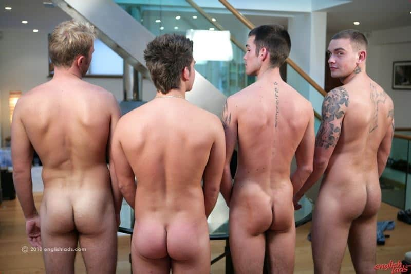 Four straight lads Andy Lee, Hayden Harris, Jay Hall and Leon Oliver compare their big uncut cocks then jerk out huge cumshots
