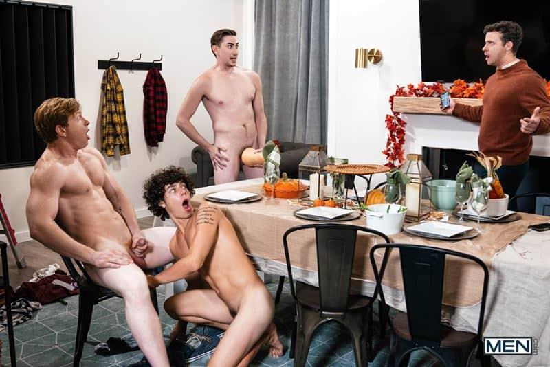 Hot gay orgy Kaleb Stryker, Jack Hunter, Nate Grimes and Kyle Connors hardcore bareback ass fucking