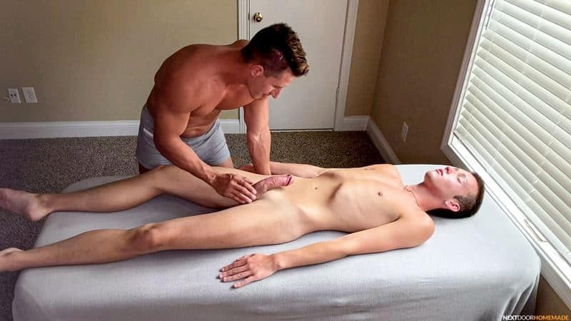 Hot older masseur stud Jax Thirio's bareback fucks younger dude Ryan Evans' hot hole