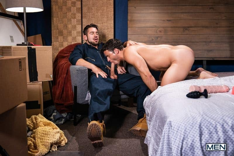 Sexy bearded removal man Dante Colle's huge raw cock fucking young stud Nate Grimes's hot hole