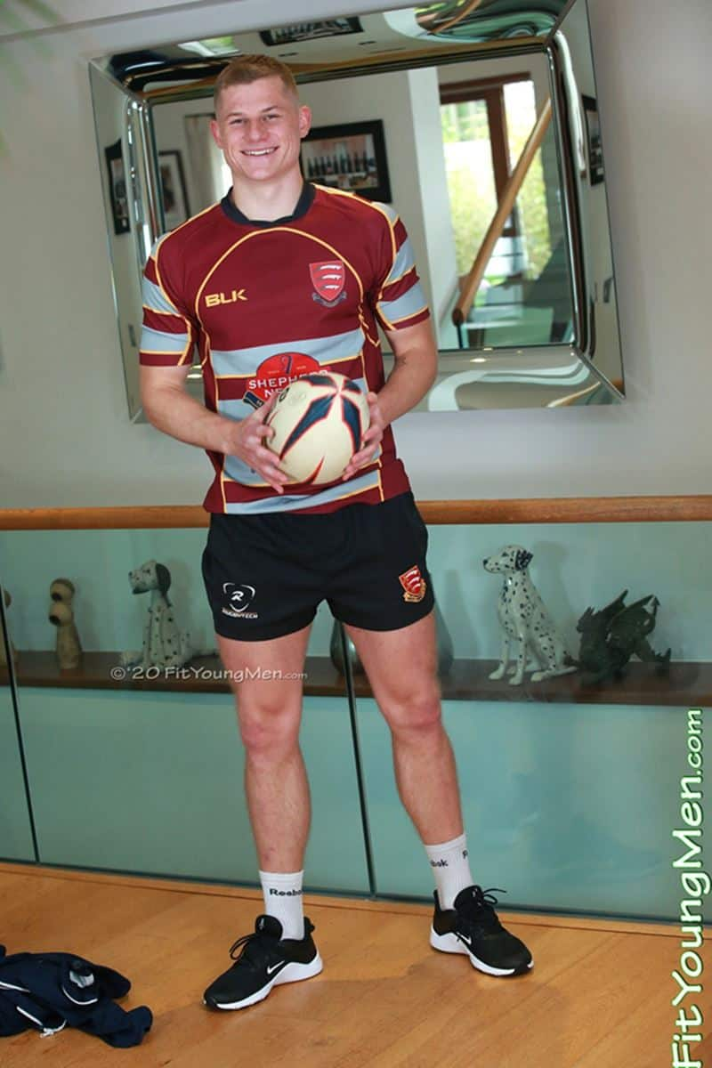 Sexy straight Rugby player Rafferty Smith strips down to his tight sexy undies jerking his huge uncut cock