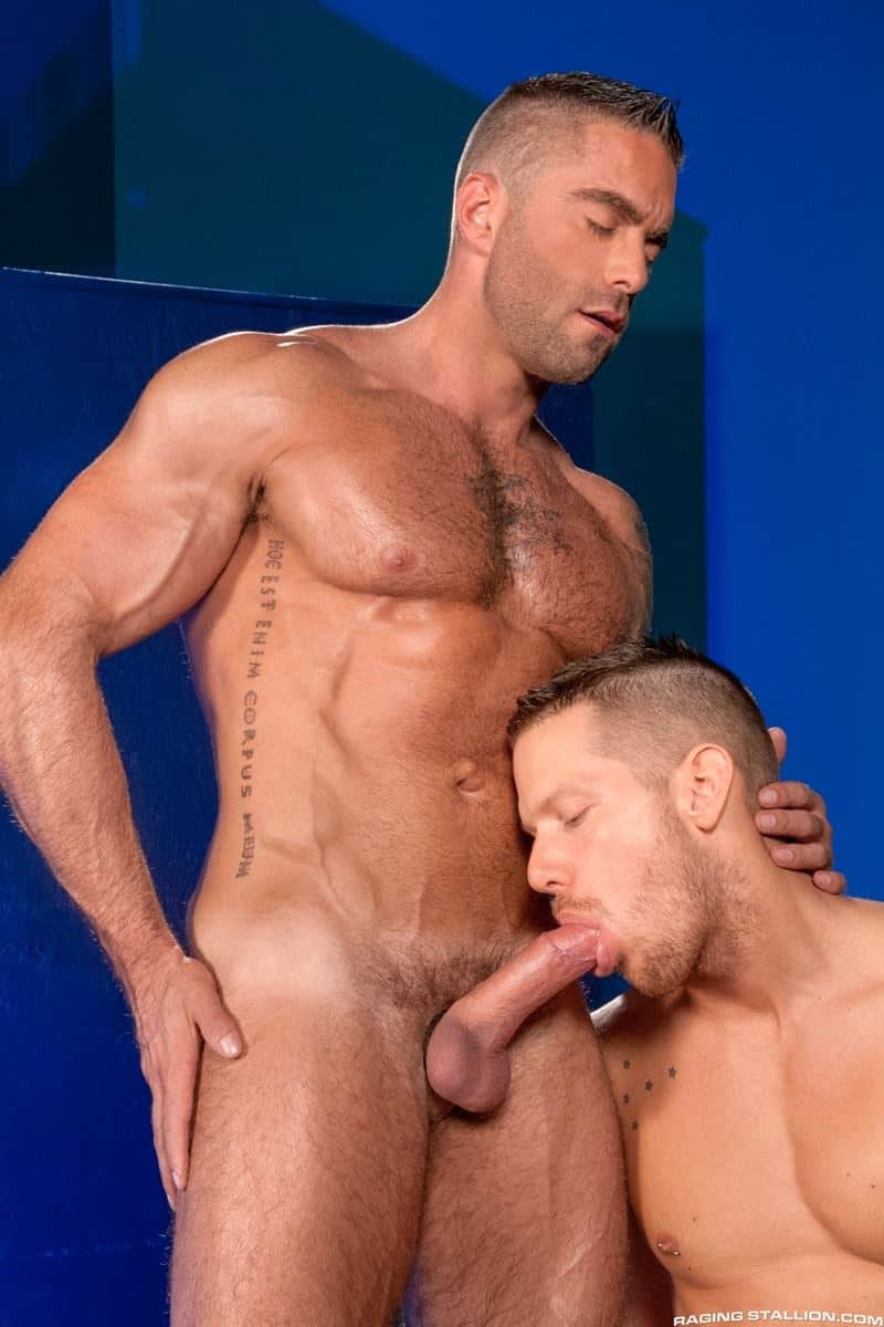 Big muscled tattooed dude Jake Genesis and Shane Frost big thick dick flip flop raw ass fucking
