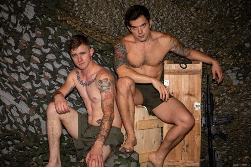 Hot military recruits Ryan Jordan and tattooed muscle Dakota Payne bareback big thick dick anal fuckfest
