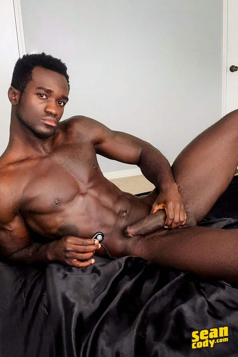Young hottie muscle dude Sean Cody Max's wanks his thick black cock to a massive cum orgasm